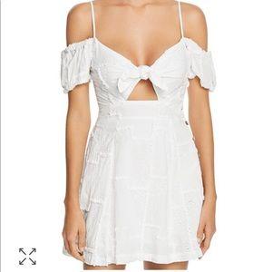 Tie-Front Cold Shoulder Mini Dress Swim Cover-Up